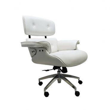Cadeira Presidente Base Giratória Alumínio Eames Office Branca com Madeira Revestida