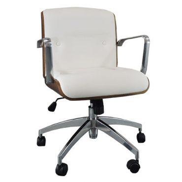 Cadeira Diretor Base Giratória Alumínio Elite Chair Madeira Aparente