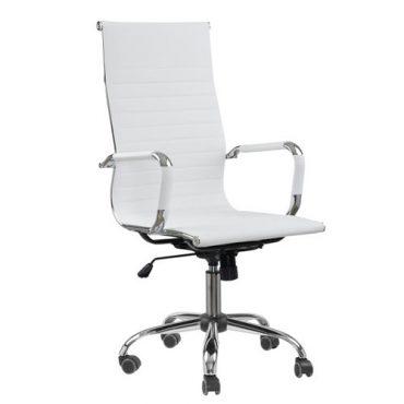 Cadeira Presidente Esteirinha Base Giratória Cromada Eames Office Branca