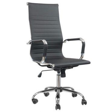 Cadeira Presidente Esteirinha Base Giratória Cromada Eames Office Preta