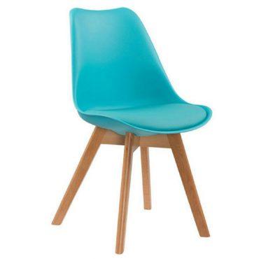 Cadeiras 4 Pés Em Madeira Eames DKR Azul Tiffany