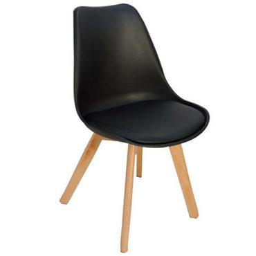 Cadeiras 4 Pés Em Madeira Eames DKR Preta