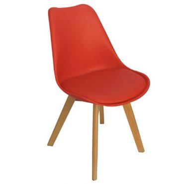Cadeiras 4 Pés Em Madeira Eames DKR Vermelha