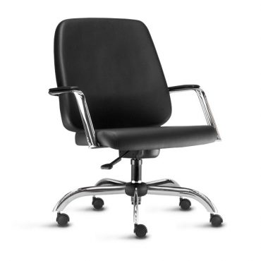 Cadeira de Escritório para Obesos Base Giratória Cromada Plus