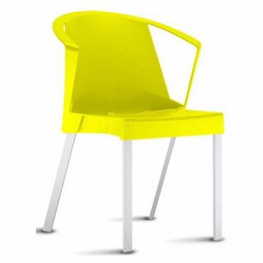 Cadeira em Polipropileno com Braços Base Fixa em Alumínio Shine Chair