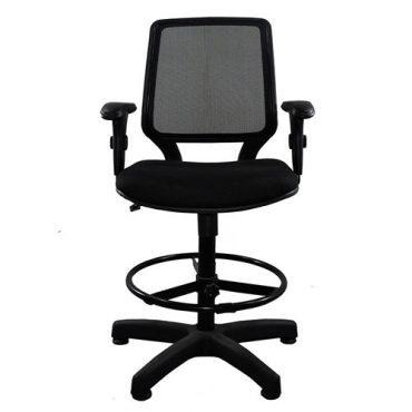 Cadeira Caixa Ergonômica Base Giratória Preta Corporate Tela