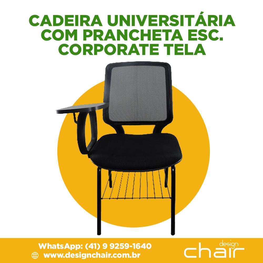Cadeira Universitária com prancheta escamoteável Corporate Tela