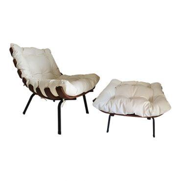 Cadeira Decorativa Costela com Puff – Branca