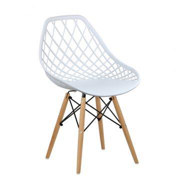 Cadeira Decorativa New DKR Pé de Madeira Branca