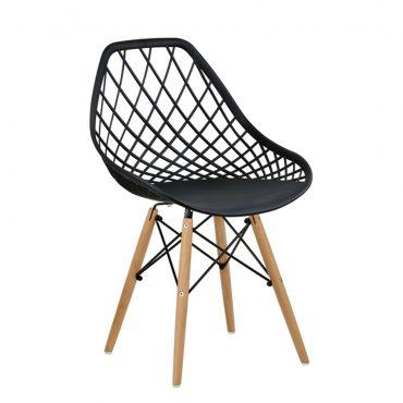 Cadeira Decorativa New DKR Pé de Madeira Preta