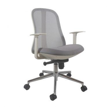 Cadeira Diretor Senna Base Cromada Branca